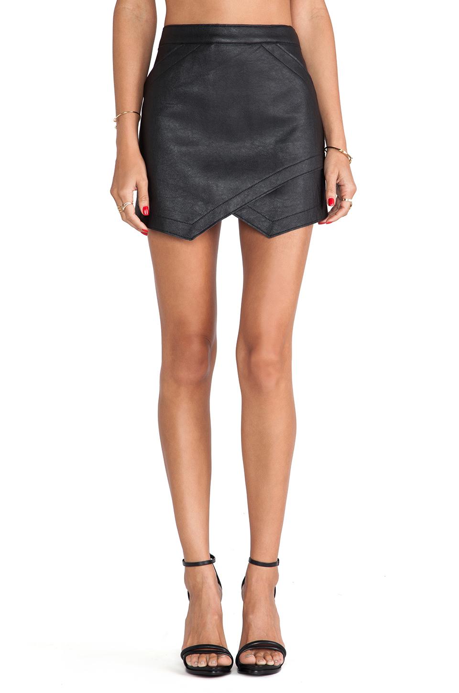 Black Asymmetrical PU Leather Skirt - Sheinside.com