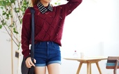 sweater,burgundy,denim shorts,shorts,cute,fashionista,pullover,red,black and white,collar,pants,blue,girly,bag