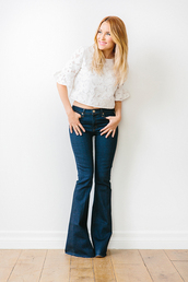 lauren conrad,blogger,jeans,top,jewels,make-up,lace,blouse,crop tops,flare jeans,spring outfits