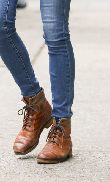 shoes brown leather boots amanda seyfried lace-up shoes camel