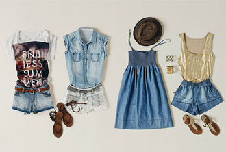 dress tumblr tumblr outfit summer cute hot endless summer light denim denim skirt denim shorts denim dress sandals rome denim blouse summer 2013 summer hat tank top t-shirt summer outfits mango polyvore american apparel printed t-shirt stretchy
