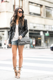 wendy's lookbook,blogger,jacket,shoes,sunglasses,jewels,leather jacket,white top,chanel,chanel bag,denim shorts,lace up,lace up heels,Chanel Reissue,chanel reissue bag,reissue,reissue bag