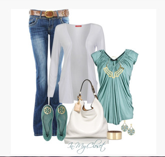 jeans clothes shirt loose fit top gathered top short sleeves teal cardigan white cardigan earrings bag purse single strap bag v-neck outfit