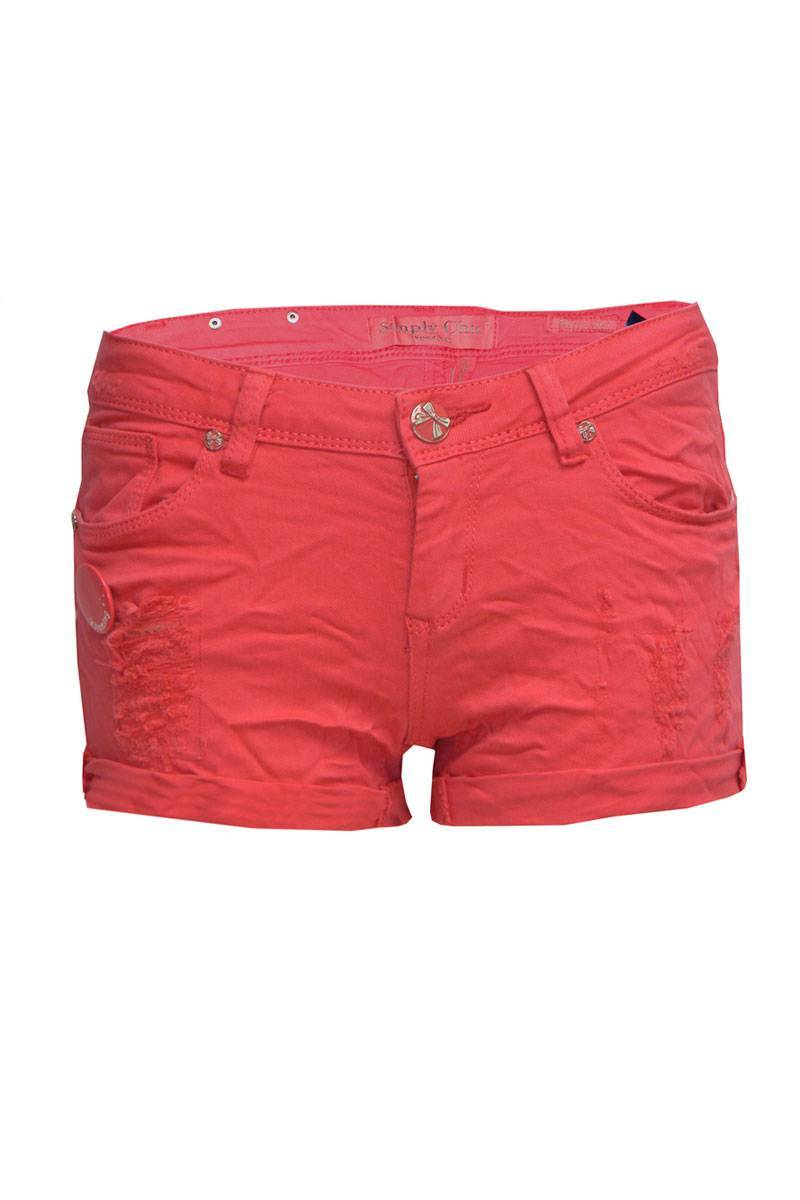 Gemma Crease Effect Ripped Shorts in Coral