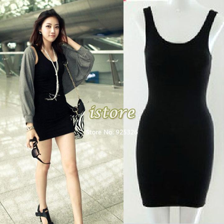 2014 Women's Vintage Bodycon Sleeveless Casual Long Solid Tank T Shirt Tops Mini Dress 5 Colors 20178-in Dresses from Apparel & Accessories on Aliexpress.com