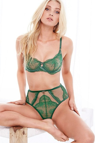 underwear green bra victoria's secret victoria's secret model lingerie set green lingerie