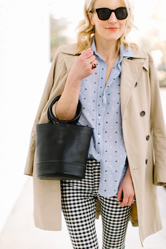 luella & june blogger coat shirt pants bag handbag trench coat gingham blue shirt spring outfits
