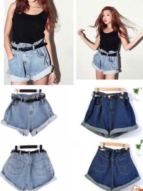 shorts light blue belt