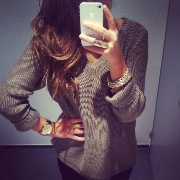 sweater oversized sweater fall sweater jewels brown sweater clothes clothes tan knitted sweater grey beige light sweater pullover