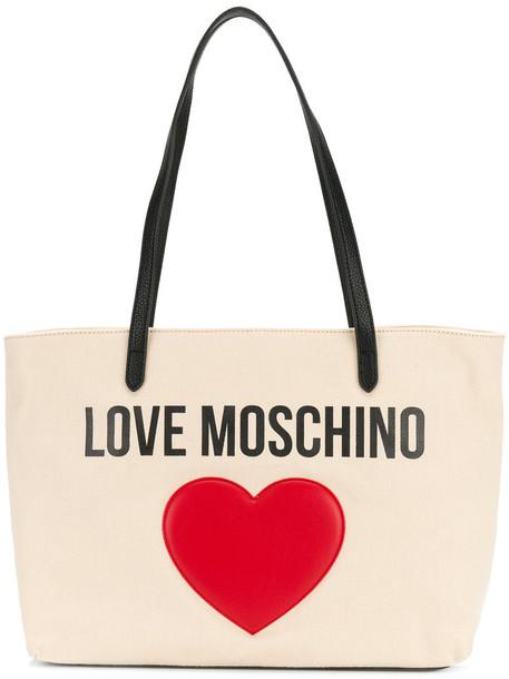 Love Moschino - heart embellished logo tote - women - Cotton/Polyurethane - One Size, Nude/Neutrals, Cotton/Polyurethane