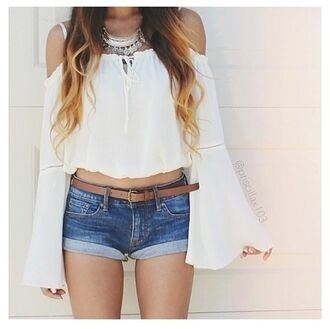 blouse classy white white top bohemian chicwish off the shoulder boho hippie crop tops long sleeves