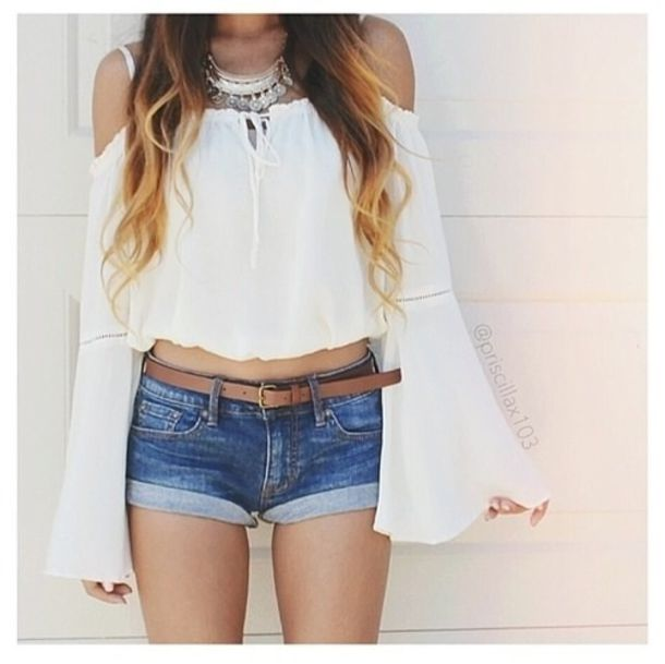 blouse chic white white top bohemian chicwish off the shoulder boho hippie crop tops. Black Bedroom Furniture Sets. Home Design Ideas