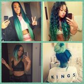 hair accessory,hair,blue ombré,heather sanders
