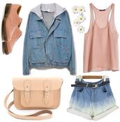 coat,blouse,jacket,denim,blue,pink,white,plants,flowers,be,belt,beautiful,cute,boots,bag,shorts,shoes