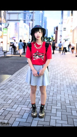 red style fashion cute japanese streets skirt shoes