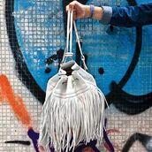 bag,fringe backpack,fringes,Accessory,white backpack,backpack,bucket bag