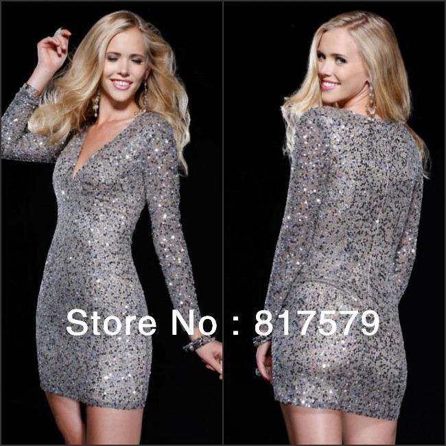 Sexy 2013 bodycon v neck sequined indian long sleeve satin suzhou prom dresses 2013  on aliexpress.com