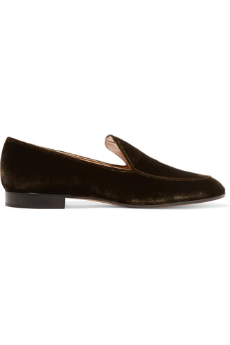 loafers velvet dark brown shoes