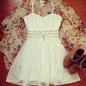 dress white dress white lace dress bright sundress cute dress sleeveless cardigan jewels shoes summer dress lace dress spaghetti strap