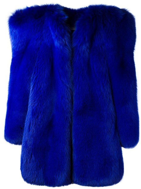 Saint Laurent coat fur fox women blue silk