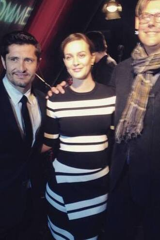 leighton meester striped top striped skirt