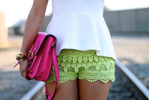 shorts yellow lace white peplum neon pink crossbody bag summer neon green