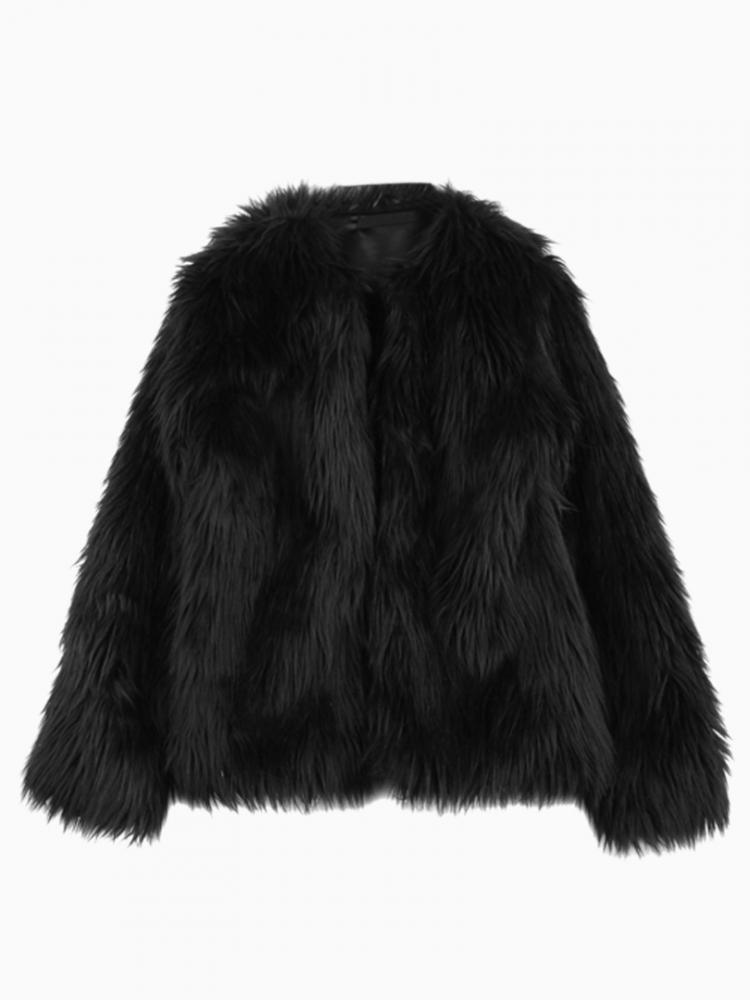 Faux Fur Coat In Black | Choies