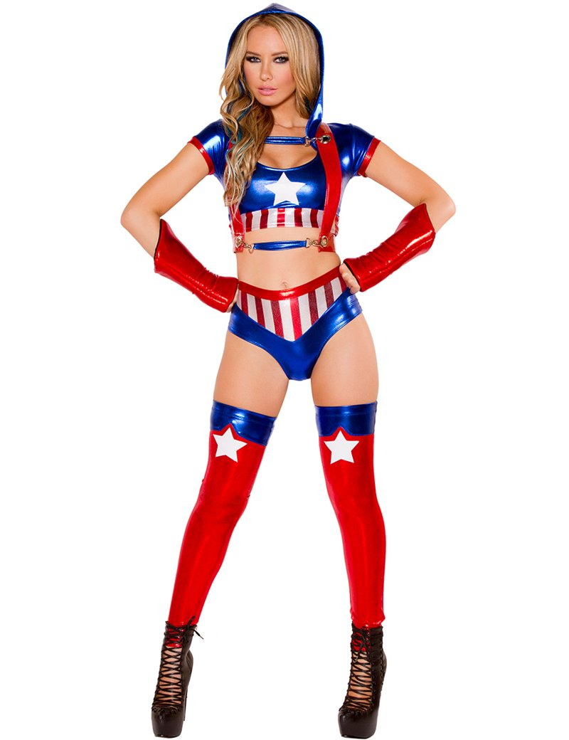 Faux Leather Sexy Captain America Adult Women's Costume 4 Pcs