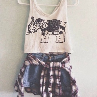 shirt white elephant indy rock crop tops lose fit sleeveless black print graphic shirt flannel red black blue coat shorts
