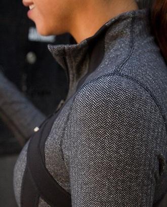 jacket lululemon grey black white sportswear sporty athletic leisurewear