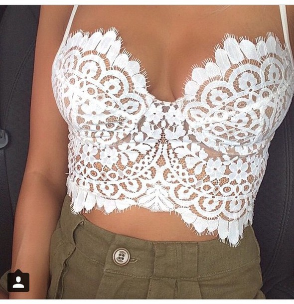 top crop tops style white white top lace crop top lace top white crop tops fashion love blouse bralette