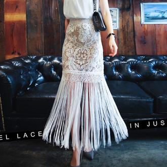 shirt lace crochet skirt tassel maxi skirt long maxi skirt