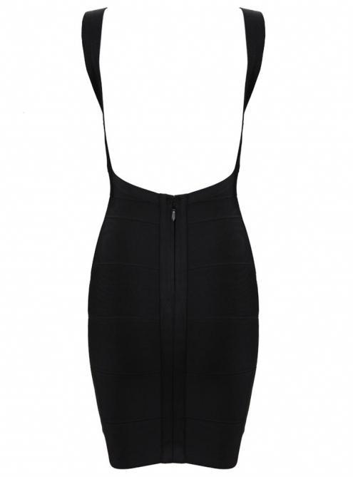 Black Sexy Strap Halter Bandage Dress Black H612$99