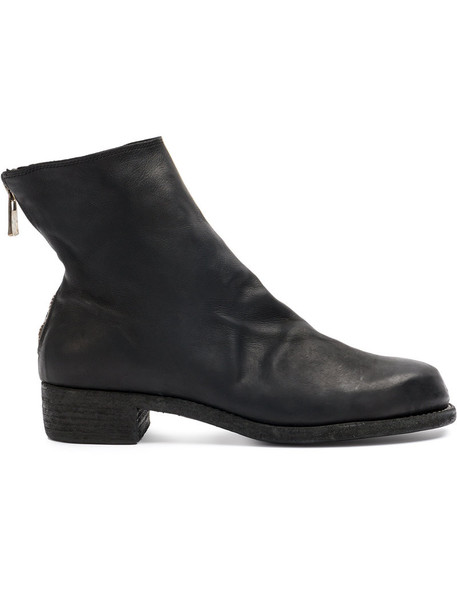 Guidi heel women heel boots leather black shoes