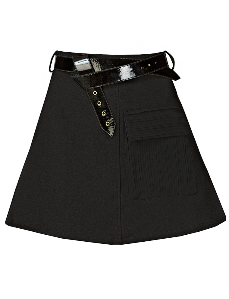 Belted a line mini skirt