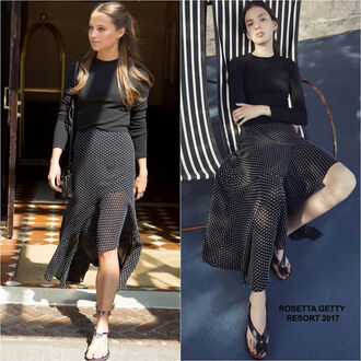 skirt dotted dotted skirt alicia vikander jimmy fallon