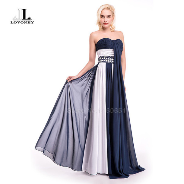 Dress Evening Dress Prom Dress Long Gown Navy Blue Evening Gown