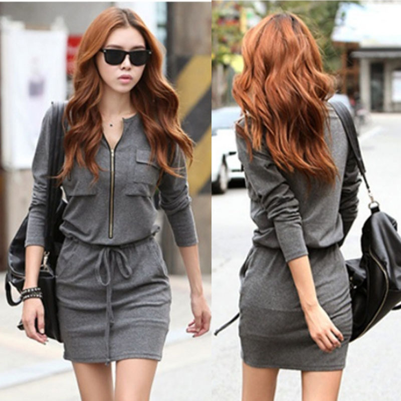 Winter Dress 2014 Korean Style Women Long Sleeve Cotton Strawstring Loose Dress Novelty Zipper Homecoming Mini Casual Dresses on Aliexpress.com | Alibaba Group