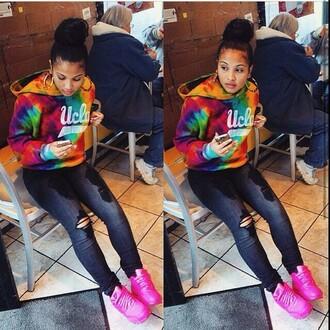shoes pink nike nike air max 90 neon pink air max 90 tie dye tye dye jacket jacket rainbow hoodie sweatshirt laid back style black jeans ripped jeans sweater