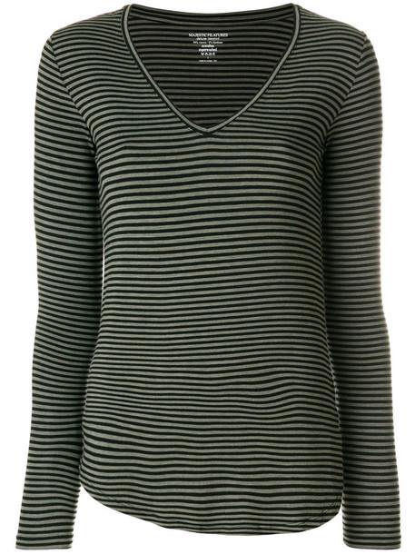 Majestic Filatures - V-neck striped jersey top - women - Viscose/Spandex/Elastane - 3, Black, Viscose/Spandex/Elastane