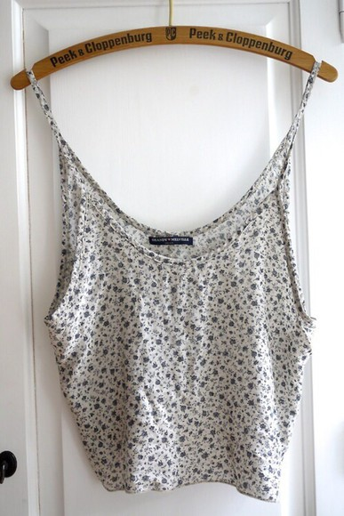 floral blouse tank top tumblr outfit flower print, crop tops white top