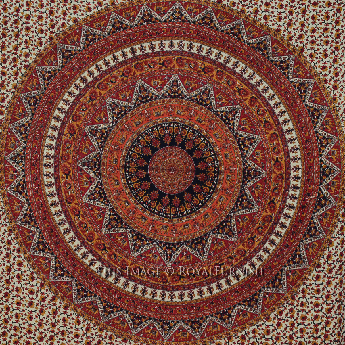 Queen Red Psychedelic Bohemian Hippie Mandala Tapestry Wall Hanging RoyalFurnish
