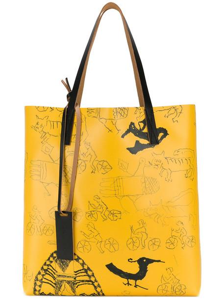 women print yellow orange bag