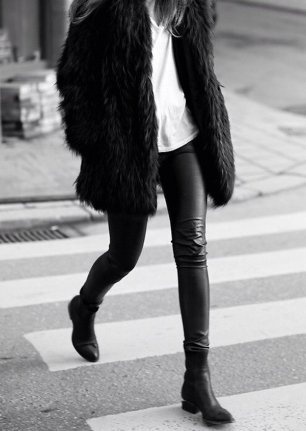 jacket faux fur jacket black fur jacket shoes vogue leather jeans leather pants