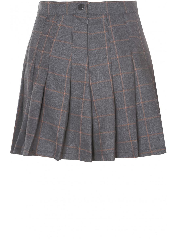 Brown check print pleated skater skirt