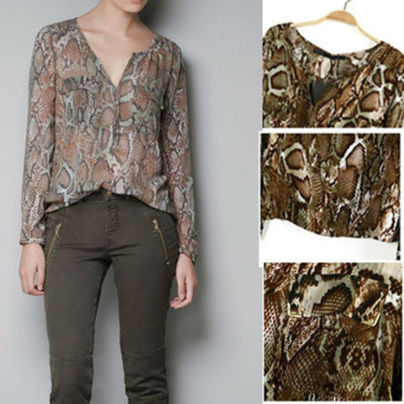 snake shirt long sleeve top no neck shirt long sleeve long sleeve shirt snakeskin snake skin snake skin print zara www.zara.com zara shirt