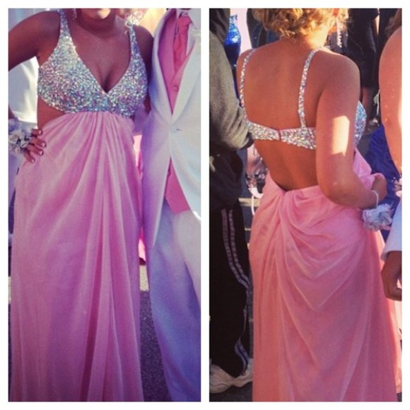 dress pink dress prom dress sparkles jewled long prom dress