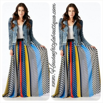skirt maxi skirt multicolor