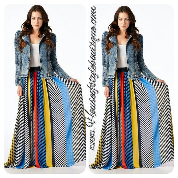 skirt maxi skirt multi colored