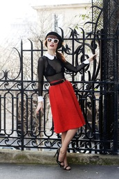 skirt,belt,tumblr,midi skirt,red skirt,top,black top,see through,see through top,sandals,peep toe pumps,pumps,high heel pumps,sunglasses,french girl style,underwear,bralette,lace bralette,white sunglasses
